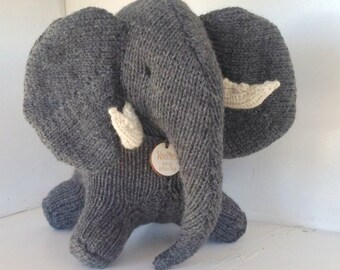Elephant, Natural Toy, Waldorf Toy, Stuffed Animal, Eco Kids Toy, HandKnit, Childrens Toy -  Custom Order