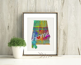 Alabama Love - Al - A Colorful Home State Wall Art Home Decor Print for Housewarming - Moving - College - Wedding Gift - Shower Present
