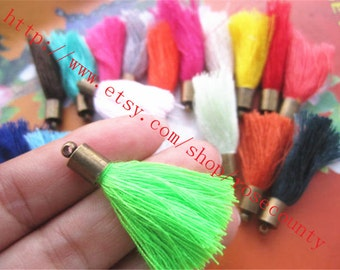 Antiqued bronze METAL caps wholesale 100pcs assorted( 20 different colors)30mm string tassel ears charms findings pendants