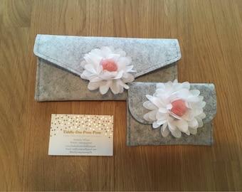 Grey felt envelope with pompom flower