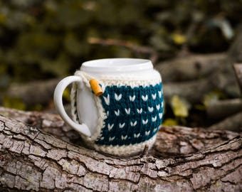 Mug Cozy, Knitted Coffee Mug Cozy, Fair Isle Mug Cozy, Hand Knit Cozy, Housewarming Gift, Hostess Gift, Coffee Cup Cozy
