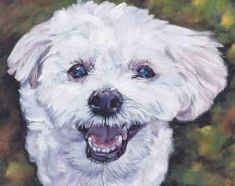 Morkie yorkie and maltese portrait CANVAS print of LA Shepard painting 11x14 dog art