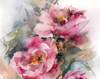 Pink peonies original watercolor painting, abstract realism flowers botanical watercolour painting art, painting of peonies