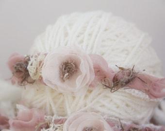 Vintage Floral Headband, Newborn Photo Prop, Newborn Tieback, Baby Tieback, Newborn Halo, Newborn Crown, Organic, Cream, Beige, Mauve, Pink