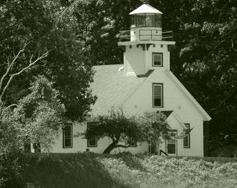 Mission Point Lighthouse #4 Black and White 11x14 Matte-READY TO SHIP