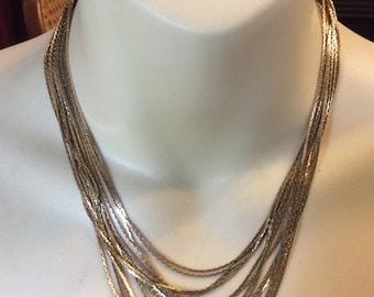 Vintage multi strand chains bib necklace signed express