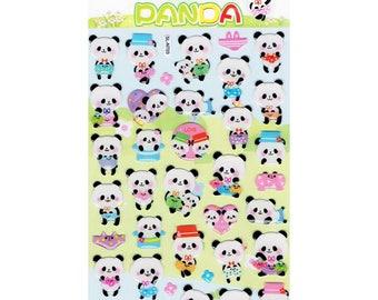 Playful Panda Epoxy Stickers