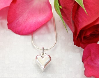 Silver Heart Pendant Necklace Hand Cast Valentine's Day