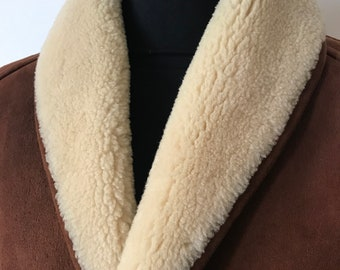 Vintage sued shearling shawl coat