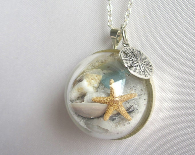 Featured listing image: Sterling Silver Necklace w/ Real Starfish, Sea Glass, Sand and Shells - Beaches of 30-A - Handmade Beach in a Bubble Necklace- Unique Gift