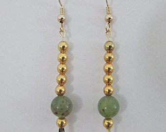 Repurposed Jewelry Earrings, Mottled Jade Green 8mm Beads with Goldtone Accent Beads, Gold Filled Ear Wires