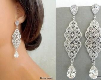Bridal Earrings Swarovski earrings Chandelier Earrings Long Rhinestone Earrings Wedding Crystal Earrings Statement Bridal Earrings HAZEL