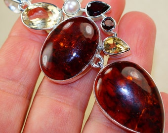 Baltic Amber with Citrine and Smokey Topaz, Pearl   & 925 Sterling Silver Pendant by Silver Trend