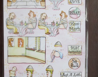 Cute Lazy Dayz 3-D die-cut decoupage sheet