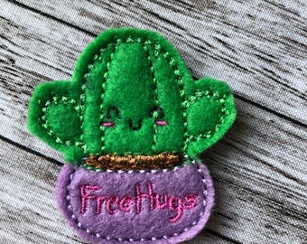 Cactus Hug Me felties set of 4 - Hair Bow Embellishment, embroidery applique, Hair Bow Supplies,  embellishment