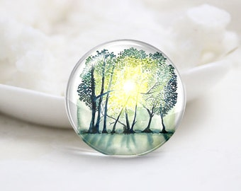 10mm 12mm 14mm 16mm 18mm 20mm 25mm 30mm Handmade Round Photo Glass Cabochons Cover-Tree (P1305)