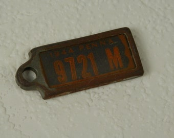 Miniature 1944 Penna License Plate Key Chain, Vintage 1944 Pennsylvania License Tag Key Chain Fob, 9721 M, Disabled American Veterans
