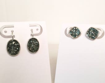 Dangle or post, crushed glass under resin for a unique sparkle earring.