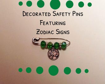 Decorated Safety Pins featuring Zodiac charms