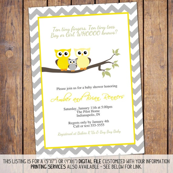 Items Similar To Owl Baby Shower Invitations, Gender