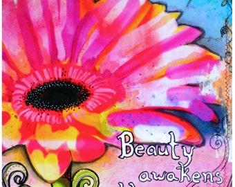 Beauty  flowers art print archival print  art print   garden painting  flowers art print