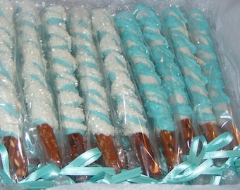 Pretzel Rods Chocolate Covered Pretty in Blue and White Pretzel Rods Wedding Favors Baby Shower 1 dozen