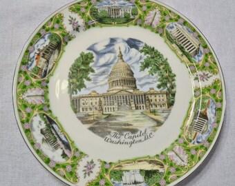 Vintage Decorative Plate Washington DC The Capitol Building Travel Souvenir PanchosPorch