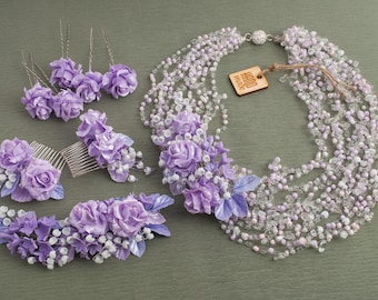 Lilac rose with lily of the valley wedding set ‒ Beads necklace ‒ Hair twig ‒ Hair comb ‒ Hair pins ‒ Polymer clay ‒ Flowers necklace