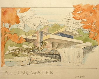 PRINT- Fallingwater house Frank Lloyd Wright Architecture drawing - art print from original Watercolor painting by Juan bosco