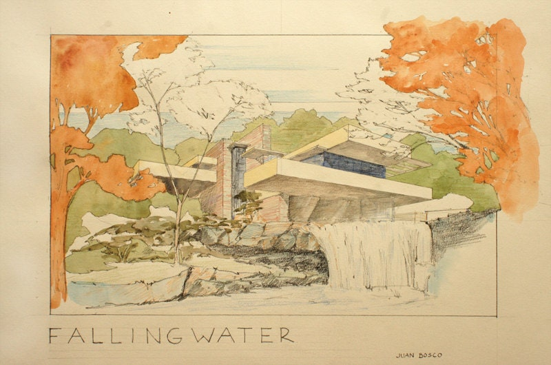 PRINT Fallingwater House Frank Lloyd Wright Architecture