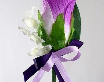 Lavender boutonniere, Purple Boutonniere, Wedding groomsman, Grooms boutonniere, Boutonniere lavender, Lavender and cream