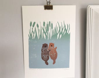 ORIGINAL ART Significant otter holding hands love lino print family print personalised artwork
