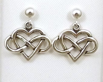 Sterling Silver Infinity Heart Charms (Everlasting Love) on Sterling Silver Ball Post Studs -1419
