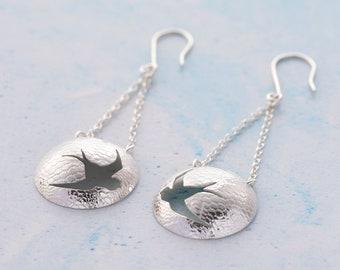 Bird earrings, Swallow earrings, dangle earrings, silver earrings, round earrings, nature jewelry, modern earrings, gifts for her