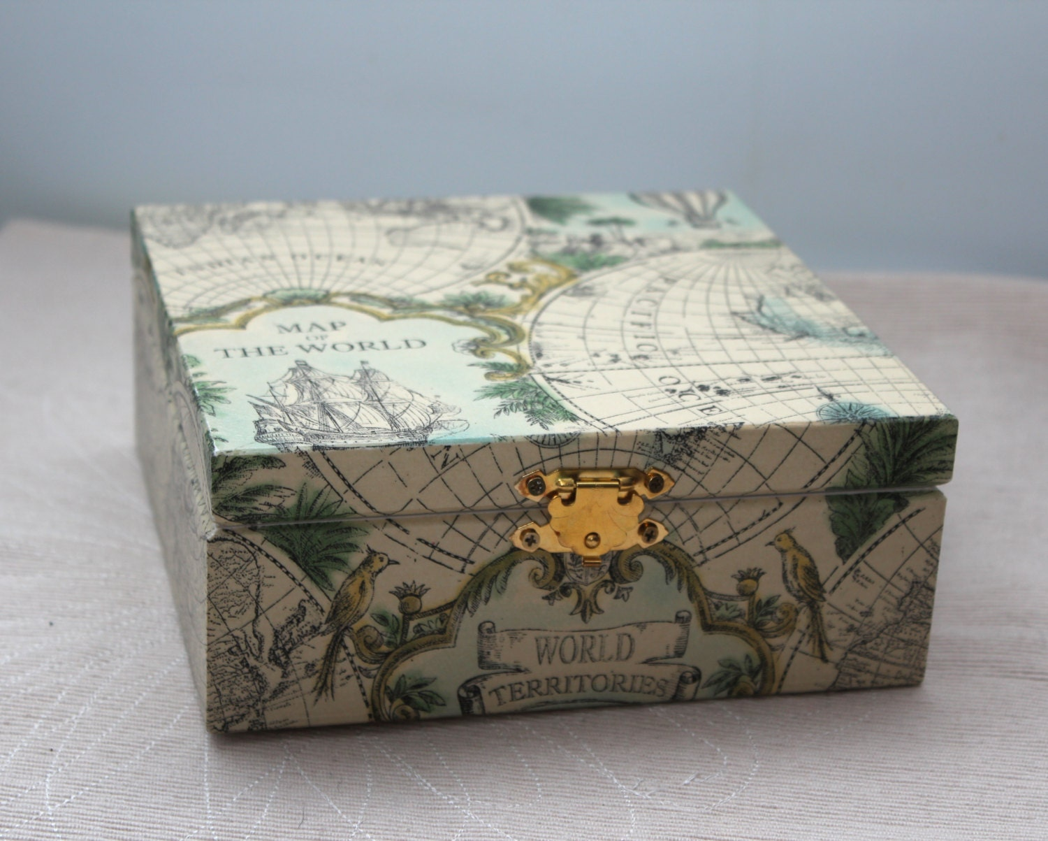 Decoupage box decorated wood jewelry box handmade wooden zoom gumiabroncs Image collections