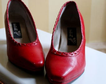 80s Cherry Red Pumps