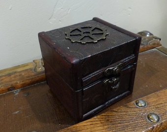 Home Decor Nautical Jewelry Box Treasure Chest with Gears Steampunk Wooden Container