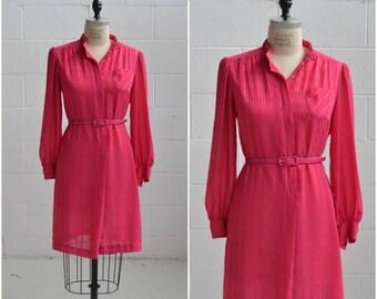 1970s fuchsia pink shirt dress · long sleeve sheer dress · shirt dress with collar · button up dress · vintage sheer dress · large