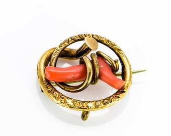 Victorian Brooch - 10K Yellow Gold - Flora Chased Frame - Coral Branch **FREE SHIPPING**