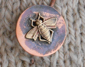 Shawl Pin Copper with Bronze Bee