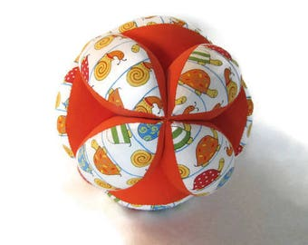 Snails and turtles baby ball, baby sensory clutch ball, Montessori toy, Amish puzzle ball, best baby shower gift,  orange cloth grab ball