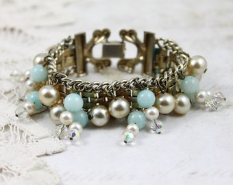 Vintage Chain Link Beaded Bracelet, Amazonite and Pearl Beaded Gold Bracelet, Aqua and Pearl Bracelet, Boho Beaded Bracelet