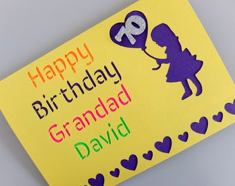 Card For Grandad with Name and Age, Card from Grandaughter, Funny Grandad Card, Personalised Card for Grandad, Grandads 70th Birthday