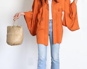 Orange silk kimono