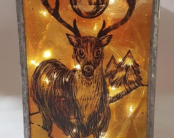 Stag lantern, hand-painted stained glass, copper foiled glass, candle holder, hand painted, antlers, winter lantern, amber glass, art glass,