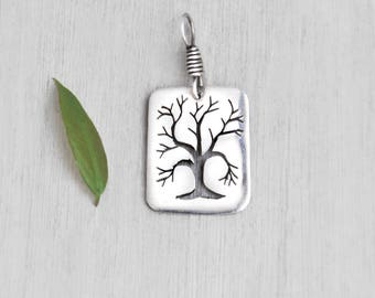 Vintage Sterling Silver Tree Pendant - handmade hand sawed tree branches - winter tree silhouette - rectangular dog tag charm
