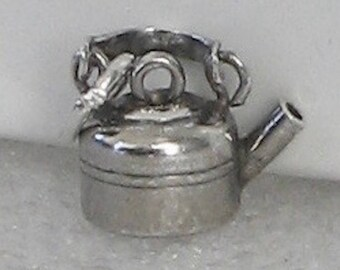 Amazing Vintage Sterling Tiny Kettle Charm  15mm