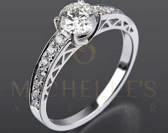 Diamond Engagement Ring With Side Stones 14 Karat White Gold Ladies Round Cut 1.2 Carat Certified D SI1 Diamond