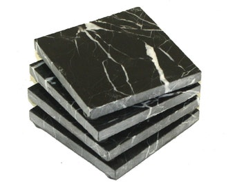 Square Nero Marquina Black Marble Stone Coasters- Personalized with Laser Engraving