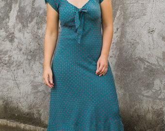 Rami Dress, Bias Cut Dress, Cap Sleeve Dress, Midi Dress, Vintage Dress, Vintage Style, Retro Dress, Summer Dress, 155-148